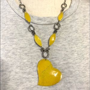 Enamel yellow heart necklace